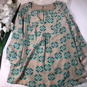 Fossil Teal and Tan Tunic Blouse V Neck